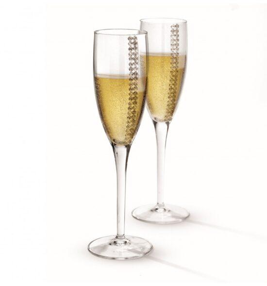 2 Pahare sampanie Regina cu cristale Made by Chinelli